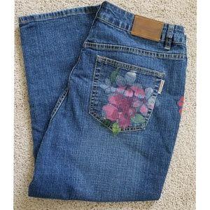 Coldwater Creek Flower Design Denim Jeans